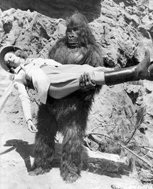 Lovely, helpless damsel Frances Robinson is spirited away by a renegade gorilla in Tim Tyler's Luck from 1937