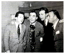 Dick Powell, Pat O-Brien, fellow Arkansan Bob Burns, and Robert Armstrong of King Kong fame, form an impromptu glee club