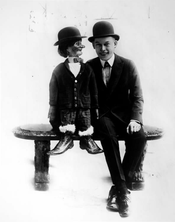Fred Allen with dummy, circa 1916.