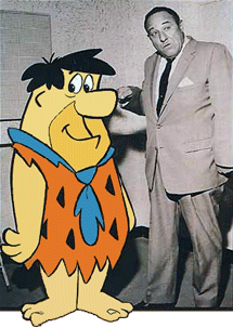Fred Flintstone with his alter ego, Alan Reed