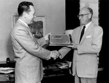 Frederick W. Ziv (right), receiving award, ca. 1981