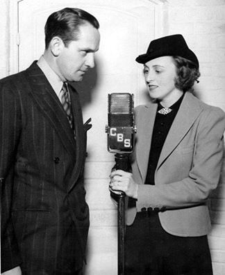 Fredric March & wife Florence Eldridge in the Lux Radio Theater version of The Outsider. September, 1937