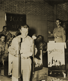 Sgt. Fred Foy at Camp Huckstep, Cairo, Egypt with AFRS station JCZE