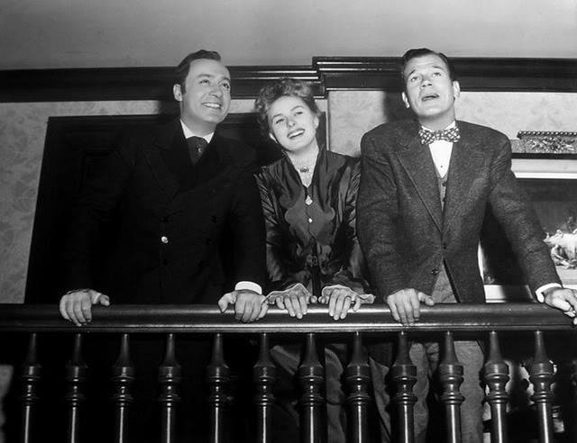 Charles Boyer, Ingrid Bergman & Joseph Cotten have a laugh between scenes of