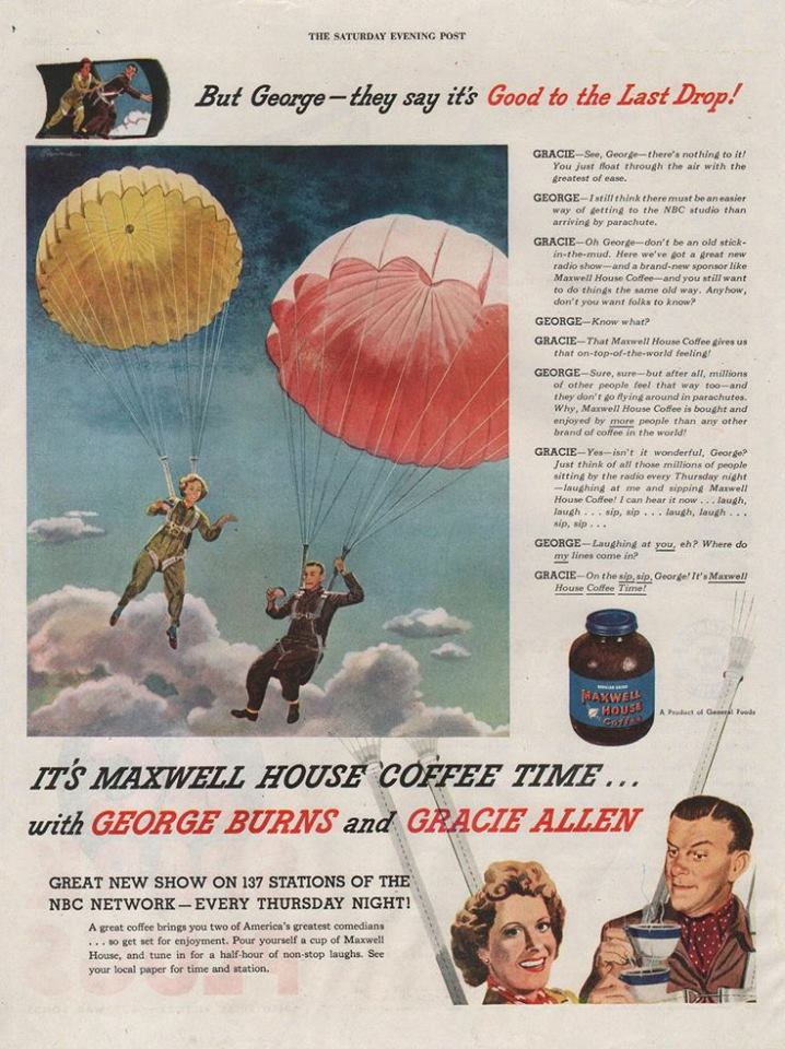 Maxwellhouse Coffee Ad Featuring George Burns and Gracie Allen