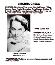Virginia Gregg Artist entry from the October 1940 edition of Lew Lauria's Radio Artists Directory.