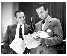 Dick Powell and Harold Lloyd confer on a script for NBC, ca. 1949
