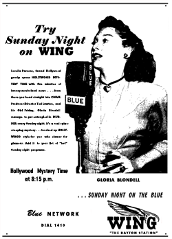 Hollywood Mystery Time spot ad showcasing Gloria Blondell, from January 27, 1945