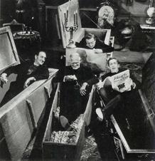 Four Horror greats, Basil Rathbone, Boris Karloff, Peter Lorre, and Vincent Price, ca. 1959
