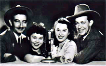 Gloria Blondell with cast of I Love A Mystery, ca. 1940