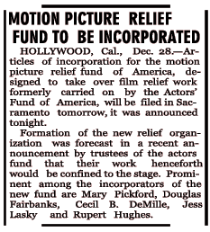 Motion Picture Relief Fund incorporation announced just under the wire for 1924, dated December 29, 1924