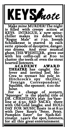Spot announcement of Intrigue premiere from July 24 1946