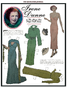 The Irene Dunne paper doll from the Milwaukee Journal's Movie Star Paper Doll series circa 1928