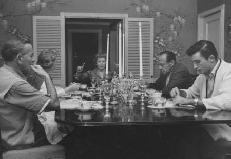 Jack Benny and family at dinner