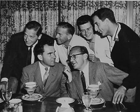 Richard Nixon, Jack Benny, Milton Berle, George Burns, Eddie Fisher, and Danny Thomas.
