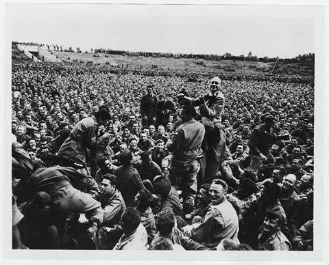 Jack Benny on a USO tour, 1945.