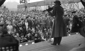 Jack Benny playing his violin, Vancouver, 1944.