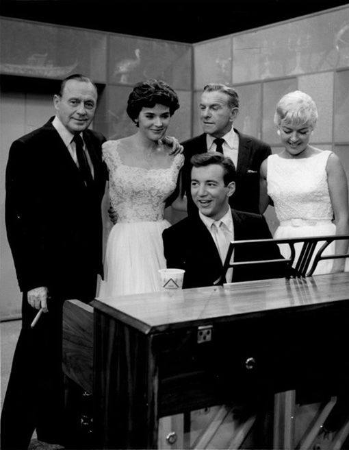 Jack Benny, Polly Bergen, George Burns, Betty Grable and Bobby Darin on the George Burns Show