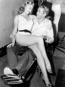 All work and no play . . . James Stewart and Georgine D'Arcy (Miss Torso) clown on the set of Rear Window circa 1954