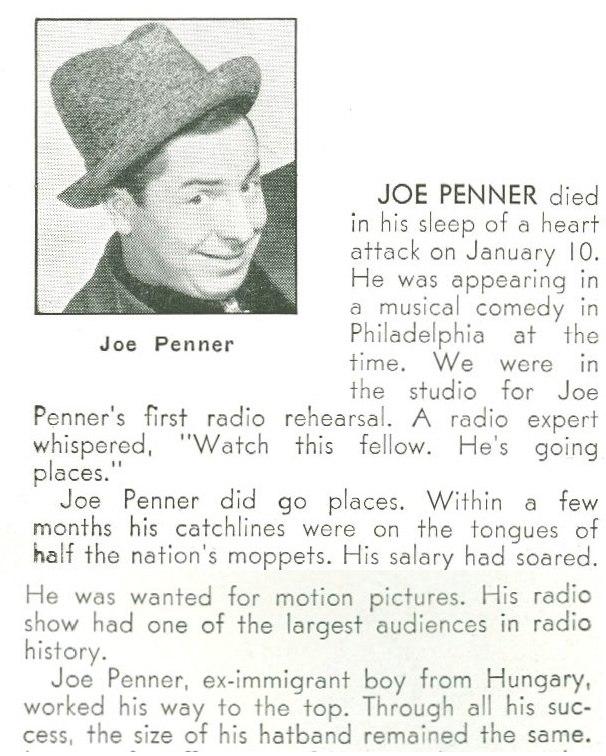 Joe Penner Obit