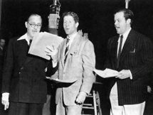 Barrymore at the mike with Rudy Vallee and Orson Welles during the Rudy Vallee Sealtest Show of December 12 1940
