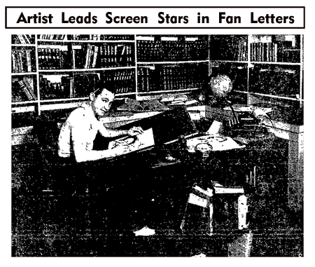 Young John Hix sits at his drawing table as he prepares his daily 'Strange As It Seems' feature (from the September 9 1935 edition of the Oakland Tribune)