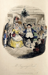 John Leech plate for Mr. Fezziwig's Ball from the first edition of Dickens' A Christmas Carol'