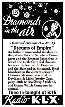 'Diamonds in the Air' spot for the Final Diamond Dramas Episode 'Dreams of Empire' from December 23 1935