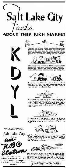 KDYL's 1935 Promotional copy for Broadcasting Magazine