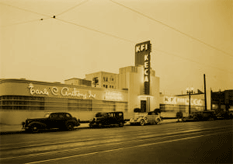 Media entrepreneur Earle C Anthony bought radio station KEHE (above) for its building, license, and frequency, subsequently sharing it's building and studios between KFI and KECA. The building on North Vermont in Los Angleles served as Anthony's KECA [K. E.arle C. A.nthony] studios. 'Lifesavers King' Edward Noble purchased KECA from Earle C. Anthony after NBC-Blue was broken away from NBC to form Noble's The Blue Network, the eventual American Broadcasting Company (ABC)
