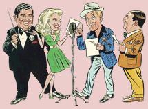 Ken Carpenter (far right) emcees the Kraft Music Hall with Bing Crosby, Marilyn Maxwell and John Scott Trotter