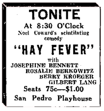 Announcement of one of Berry Kroeger's acting appearances from May 2 1932.