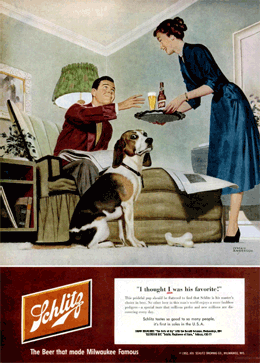 'I thought I was his favorite!' LIFE Magazine Schlitz ad promoting The Halls of Ivy from February 18 1952, this one illustrated by Lyman Anderson