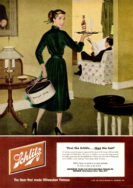 'First the Schlitz . . . then the hat!' LIFE Magazine Schlitz ad promoting The Halls of Ivy from March 31 1952