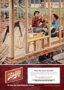 'Feels like home already!' LIFE Magazine Schlitz ad promoting The Halls of Ivy from April 14 1952, this one illustrated by Austin Briggs