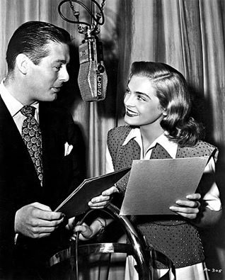 Lizabeth Scott and Don DeFore in a radio broadcast of You Came Along, 1946