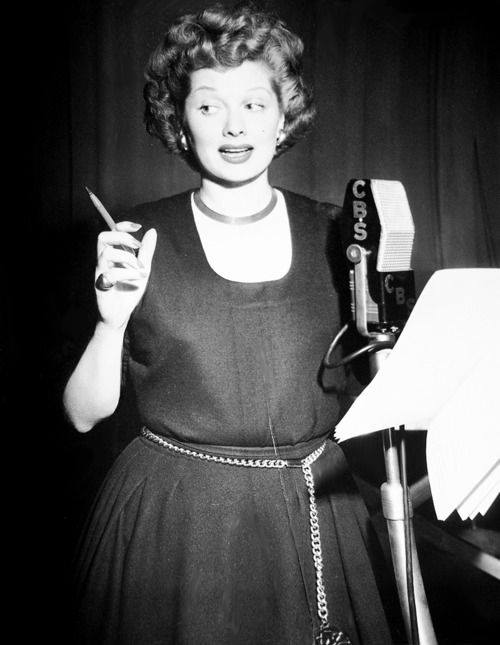 Lucille Ball photographed during a radio performance of My Favorite Husband