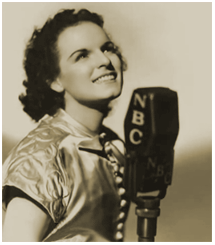 Mercedes McCambridge before an NBC Mike