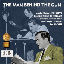 Robson, seen here behind Frank Lovejoy, directing the Peabody Award winning series, Man Behind The Gun, for CBS, ca 1943
