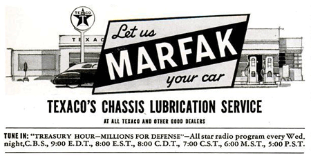 Texaco Marfak services ad promoting its 1941 Treasury Hour -- Millions For Defense over CBS