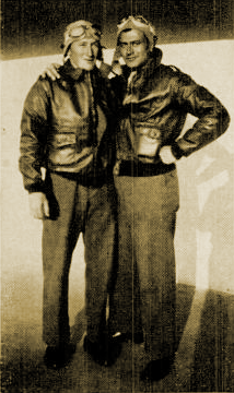 Young Cadet Spillane in the U.S. Army Air Corps with buddy Nat Drutman circa 1942