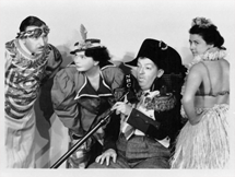 In Character: John Brown (far left) with Minerva Pious (far right) and Eileen Douglas and Charlie Cantor from their Fred Allen Show days together.