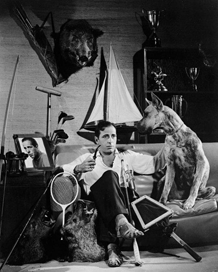 Mr. Bogart amidst the trappings of a Man of Liesure, ca. 1946