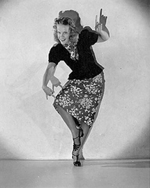 Natalie Park demonstrates the Bog Walk - latest dance craze of 1937