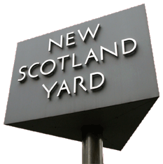 New Scotland Yard's impressive triangular sign identifying its new Headquarters at Victoria  Street, S.W.1 in 1967