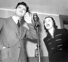 Norman Corwin in NBC Studio with Peggy Burt, ca. 1937