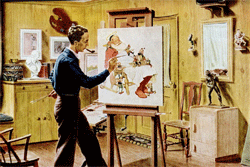Compare the two-page ad above with the Norman Rockwell-themed Life spread for Christmas 1949 (Click above for full-size ad)