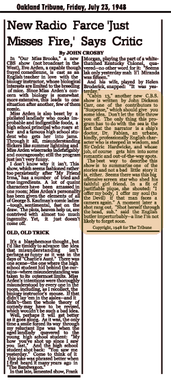 A rather harsh view of Our Miss Brooks, but a glowing review of Cabin B-13 from the Oakland Tribune, July 23, 1948