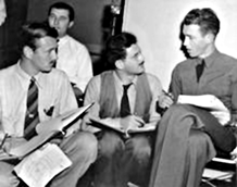Corwin discusses We Hold These Truths script with Jimmy Stewart, ca. 1941