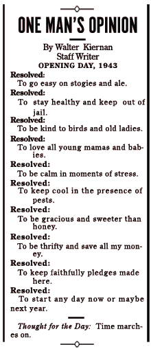 Walter Kiernan's New Year's Resolutions for 1943